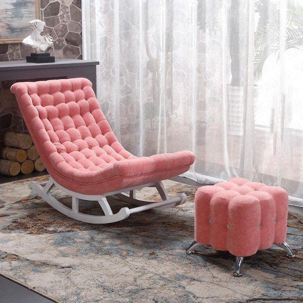 Ghế bập bênh bọc vải màu hồng