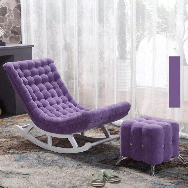 Ghế bập bênh bọc vải màu tím đậm