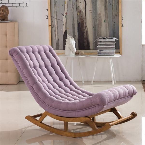 Ghế bập bênh bọc vải màu tím