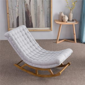 Ghế bập bênh bọc vải màu trắng