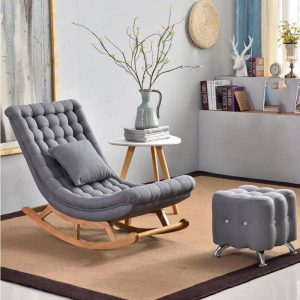 Ghế bập bênh bọc vải màu xám