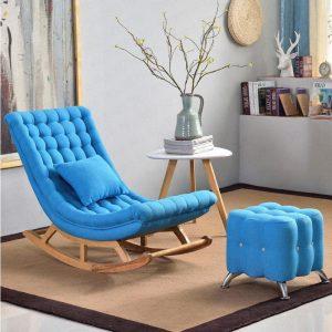 Ghế bập bênh bọc vải màu xanh da trời