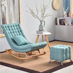Ghế bập bênh bọc vải màu xanh ngọc
