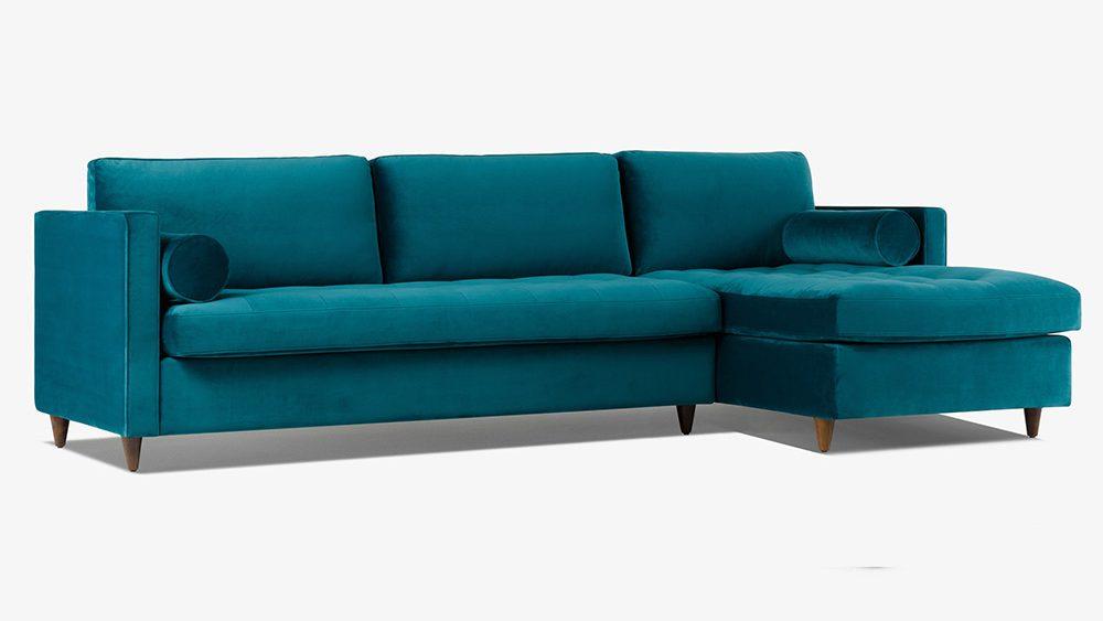 Sofa vải bọc nhung màu xanh